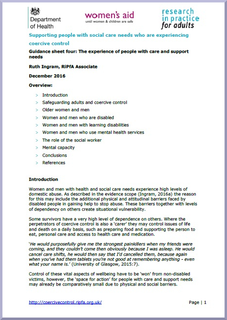 Guidance sheet four: The experience of people wih care and support needs