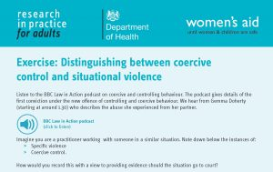 Exercise: distinguishing between coercive control and situational violence